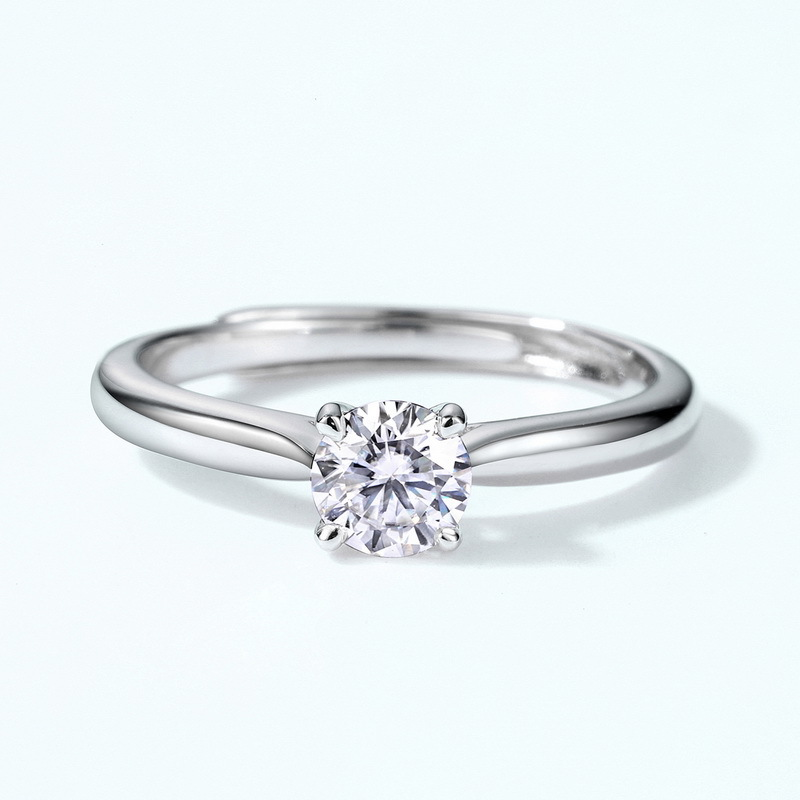 Classic prong set moissanite sterling silver engagement ring