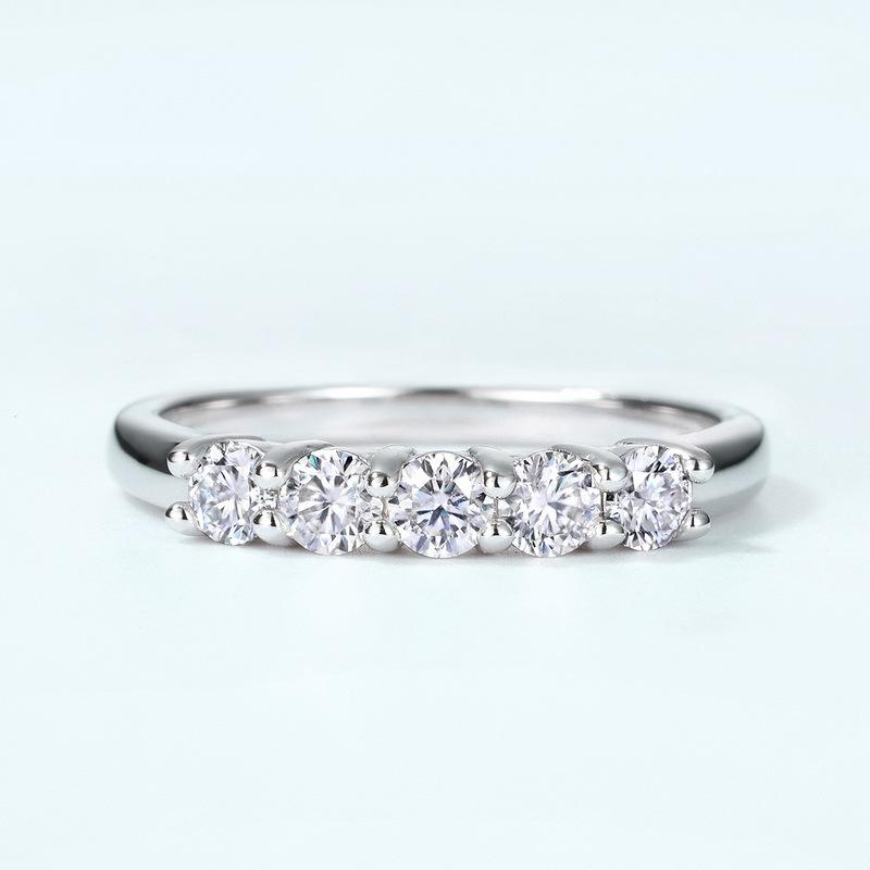 Bar set moissanite sterling silver engagement ring