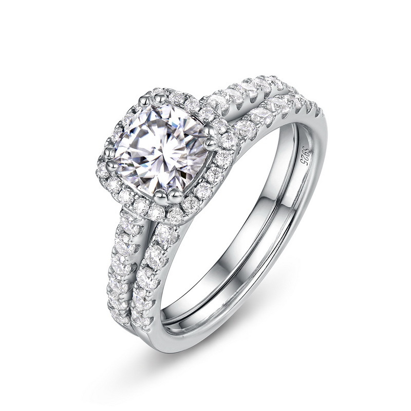 Grand princess cut moissanite sterling silver engagement ring