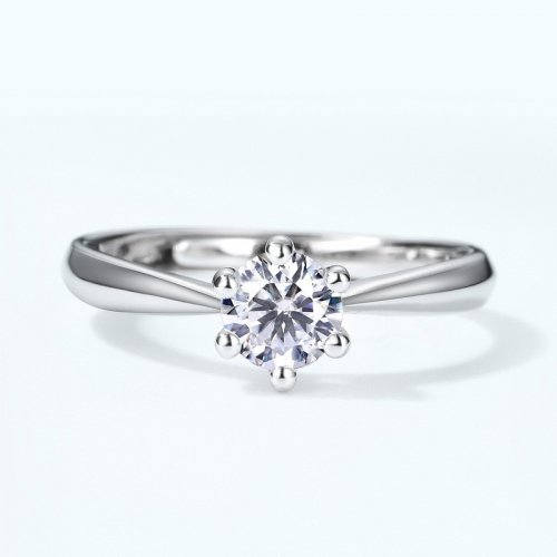 Classic moissanite sterling silver engagement ring