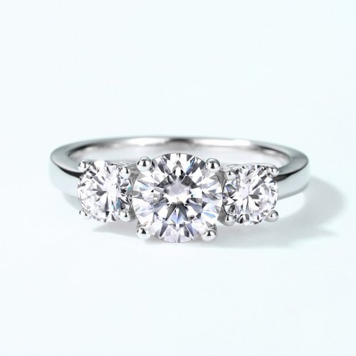 Three-moissanite setting sterling silver engagement ring