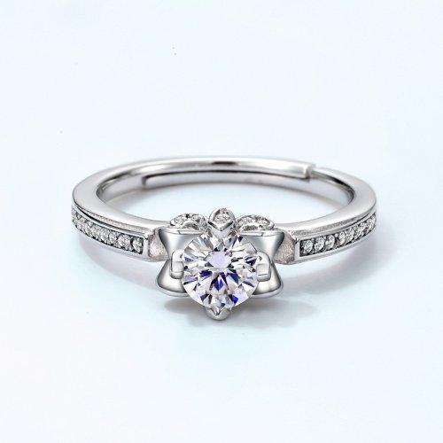 Flower shape moissanite sterling silver engagement ring