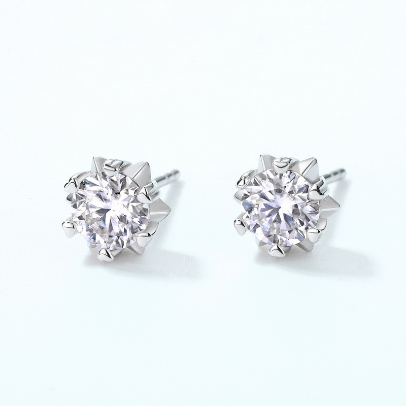 Snowflake moissanite sterling silver stud earrings
