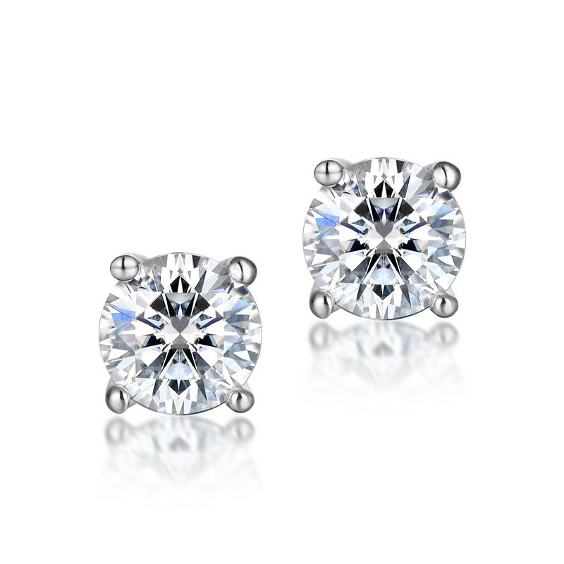 Classic four-prong moissanite sterling silver stud earrings