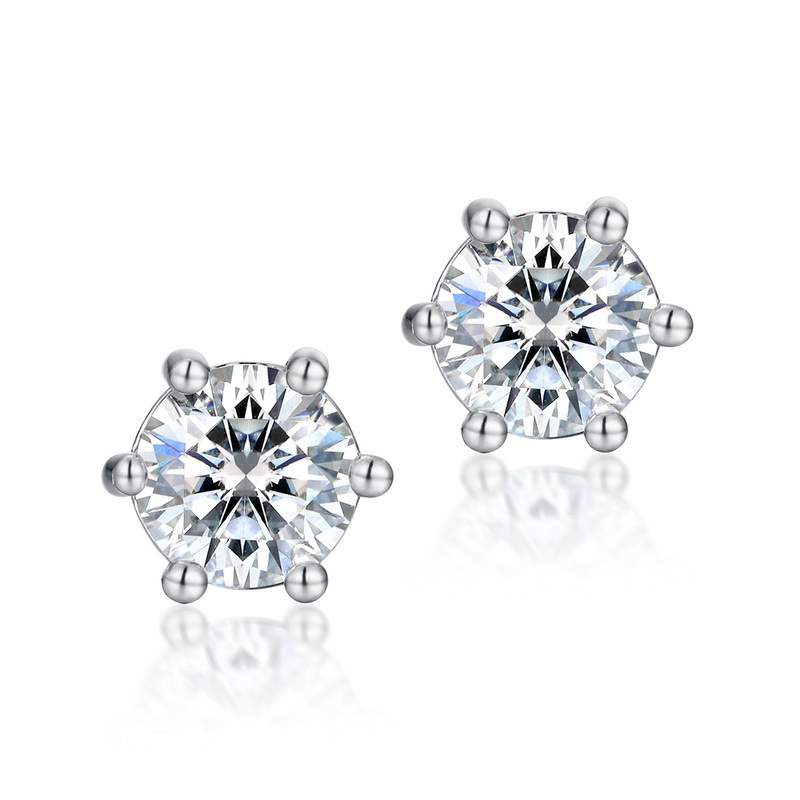 Classic six-prong moissanite sterling silver stud earrings