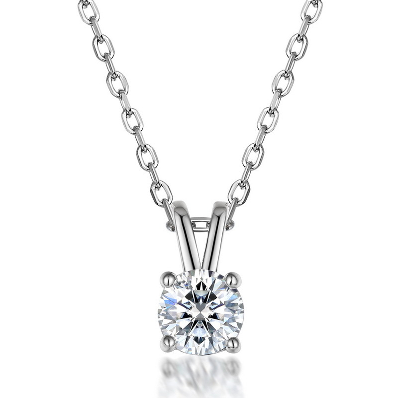Classic four-prong moissanite sterling silver pendant