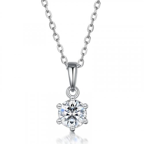 Classic six-prong moissanite sterling silver pendant