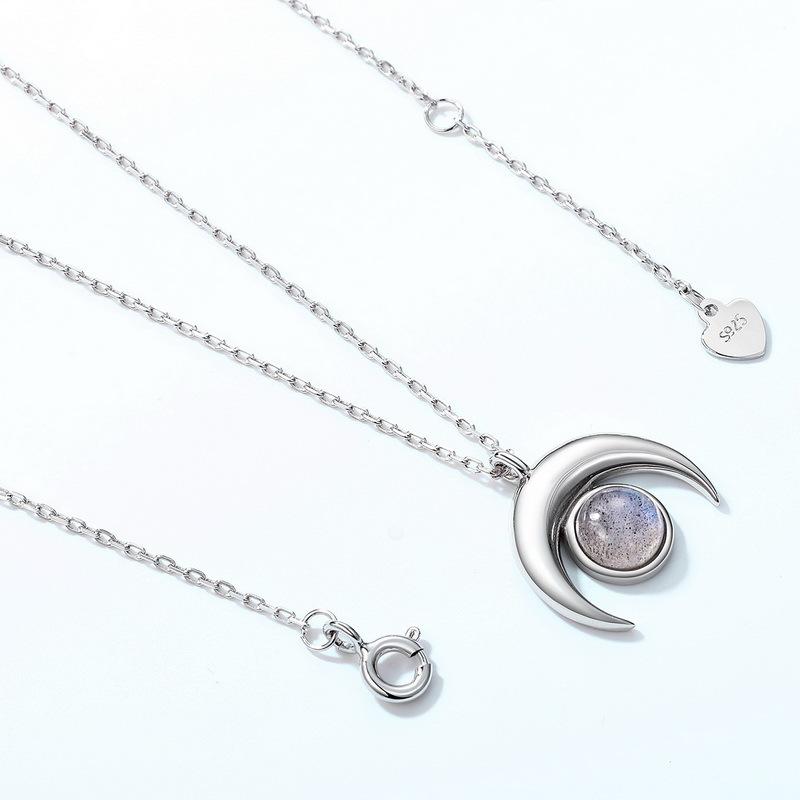 Unique labradorite sterling silver chain necklace