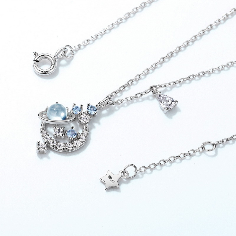 Sky blue topaz planet sterling silver necklace