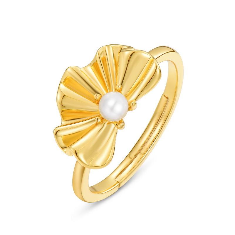 Galsang flower sterling silver ring in 9K gold vermeil