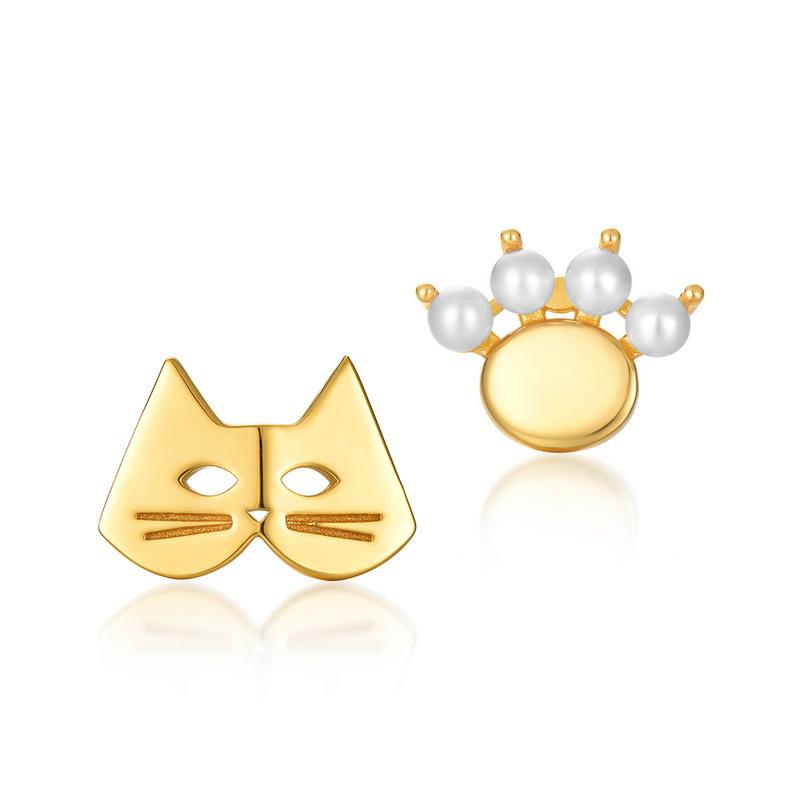 Lovely kitten sterling silver stud earrings in 9K gold vermeil