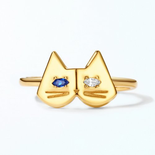 Lovely silver blue spinel cat ring