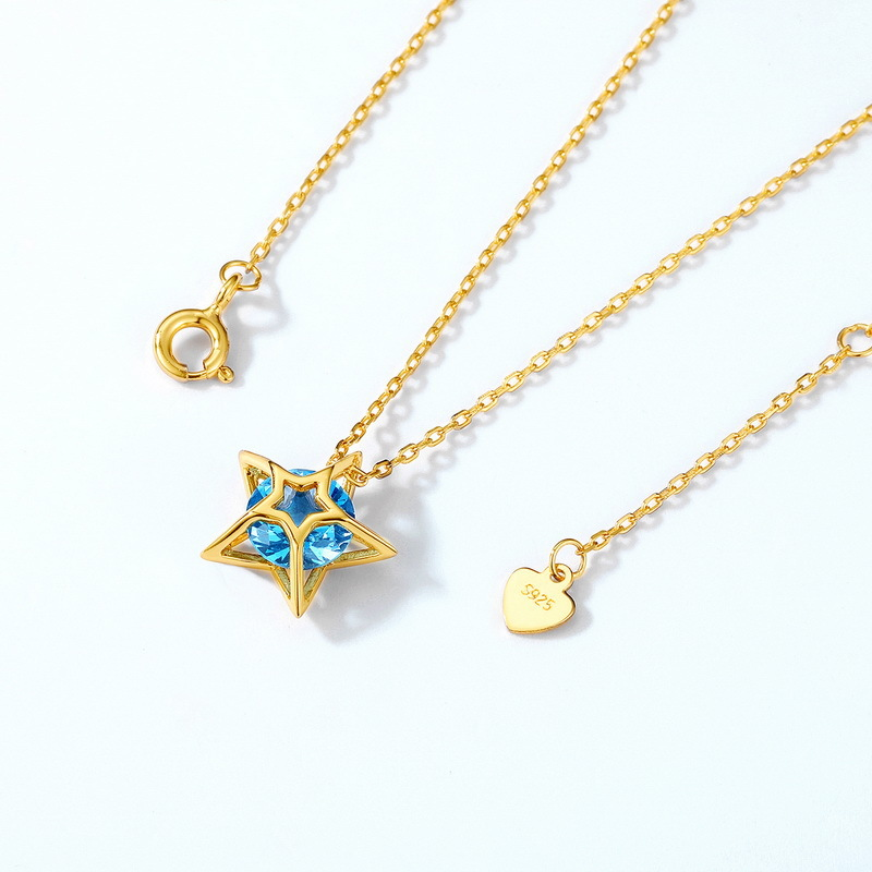 Blue spinel star sterling silver necklace in 9K gold vermeil