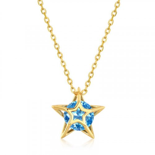 S925 silver blue spinel star necklace