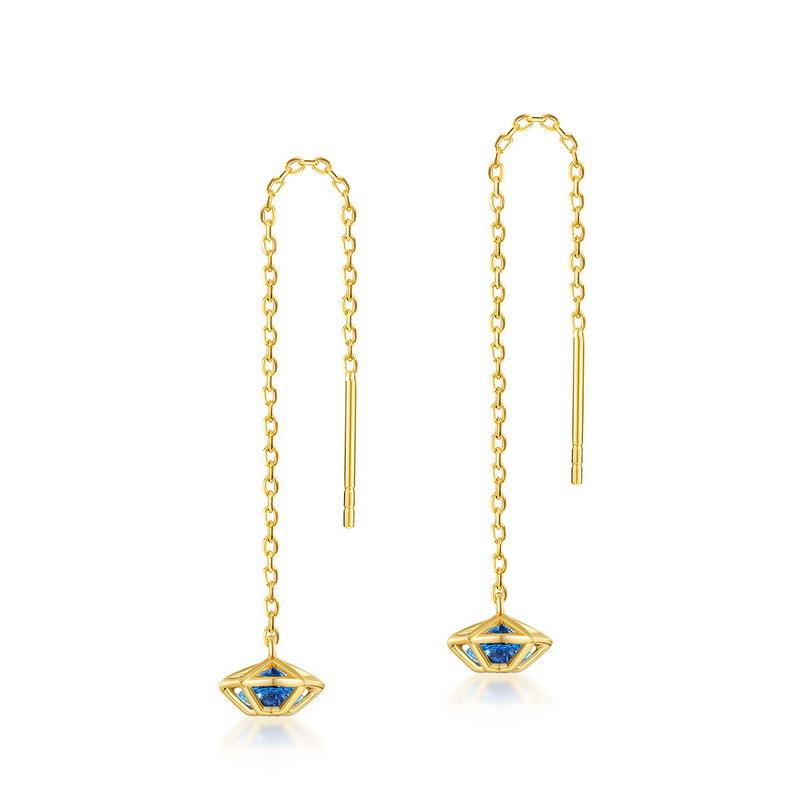 S925 silver blue spinel star earrings