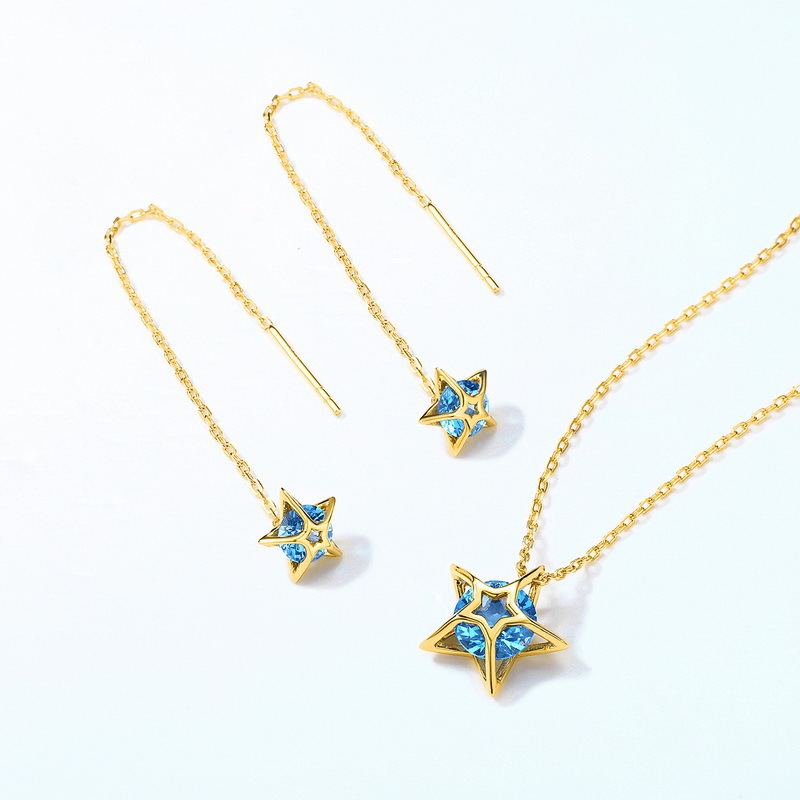 Blue spinel star sterling silver jewelry set