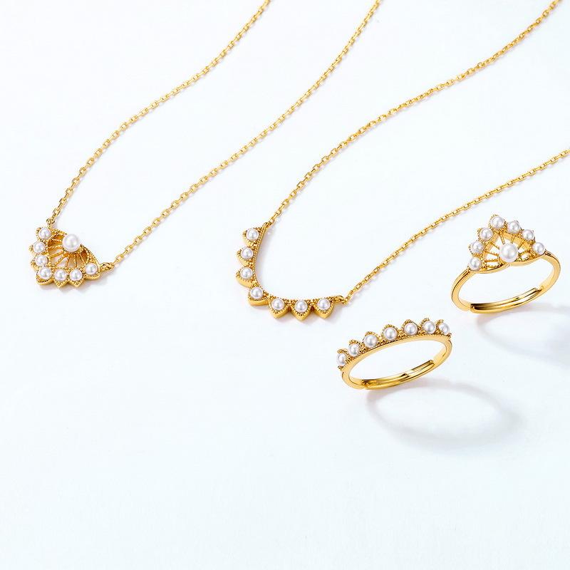 Mapleleaf silver white pearl jewelry set