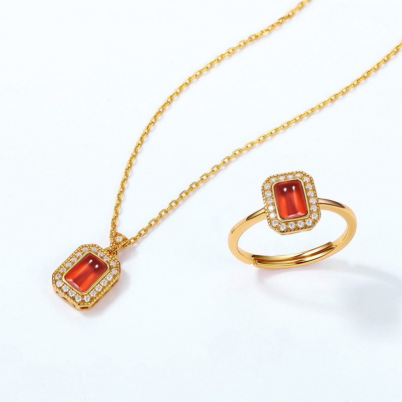 Silver rhodolite garnet jewelry set
