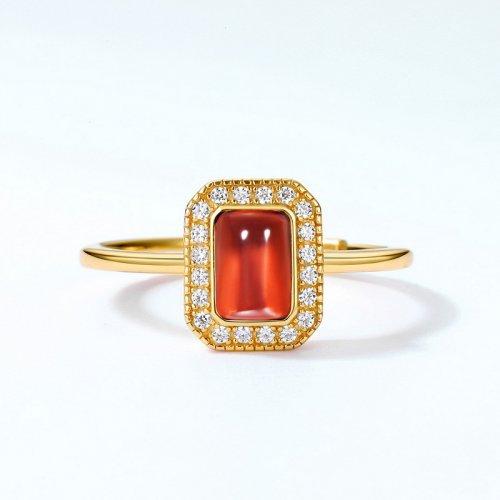 Gold vermeil sterling silver garnet ring
