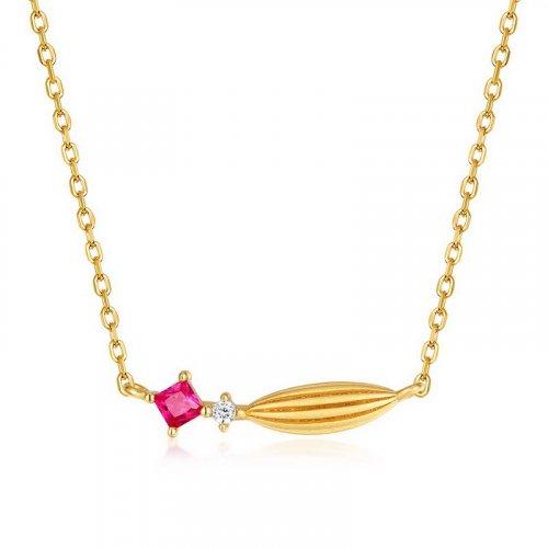 Red corundum sterling silver necklace