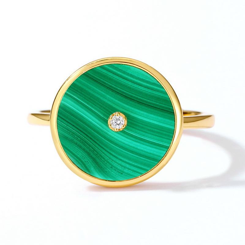 Vintage silver round malachite ring