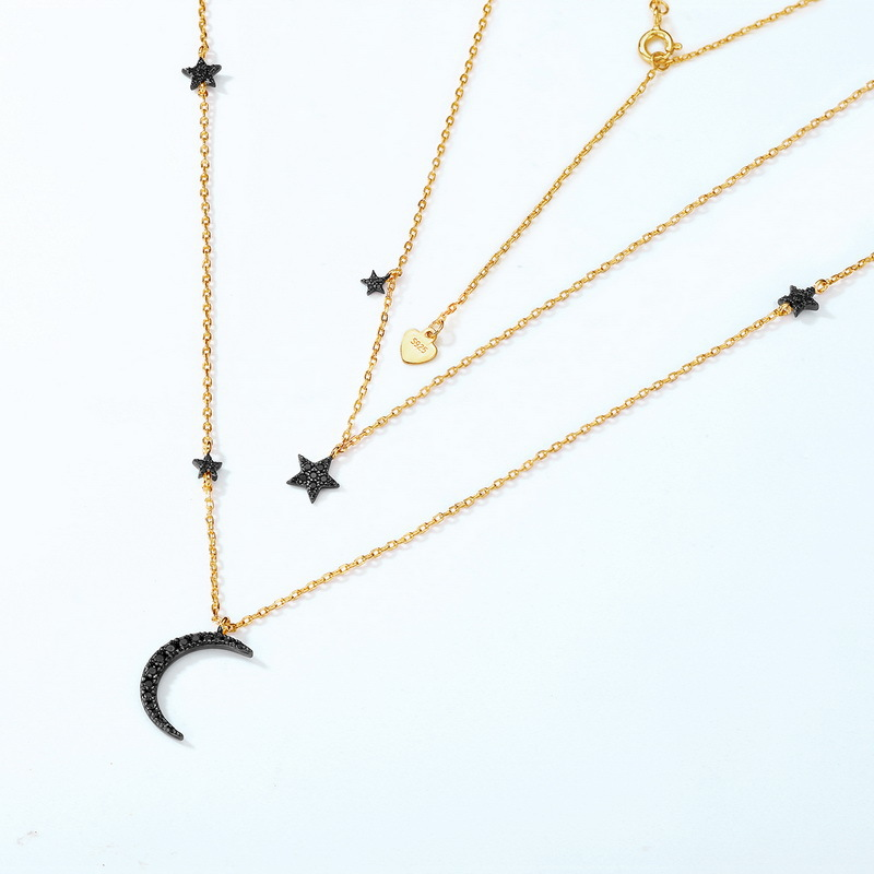 Black stars sterling silver double necklace in 9K gold vermeil