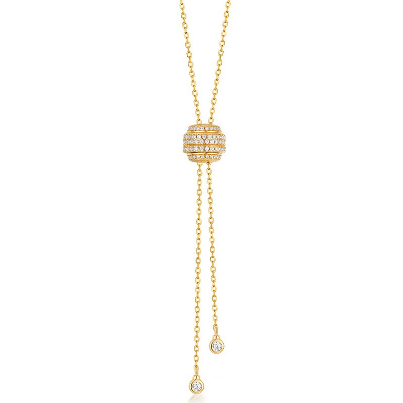 Gold ball adjustable lariat necklace