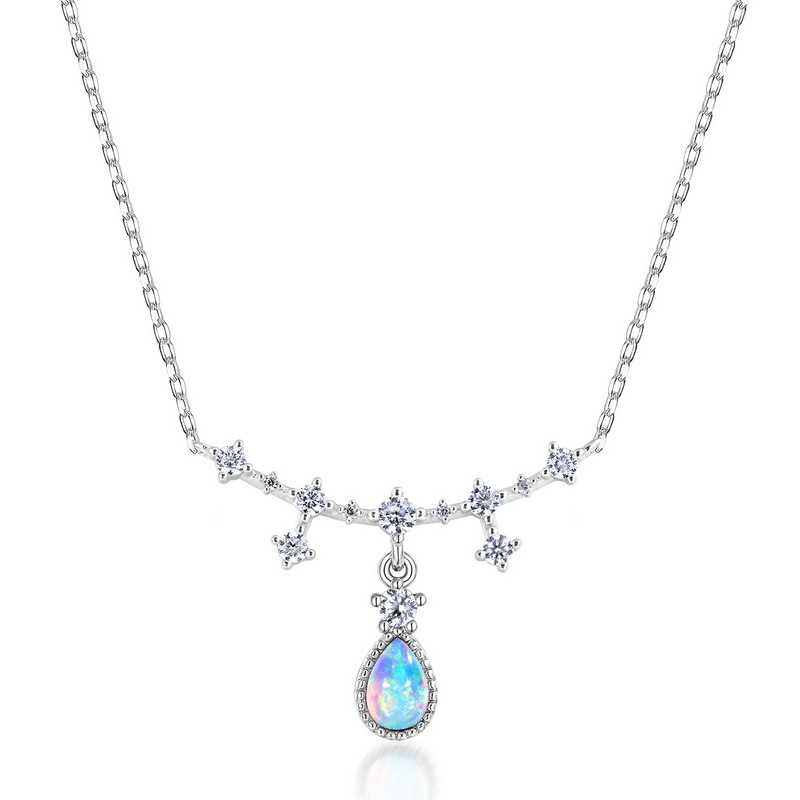 White gold plated silver opal necklace