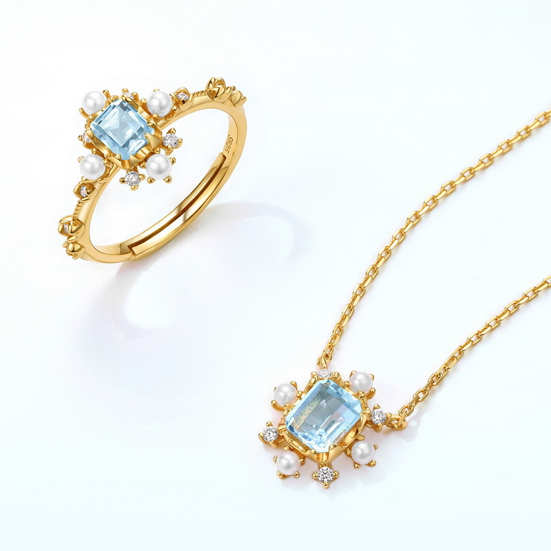 Snowflake blue topaz silver jewelry set