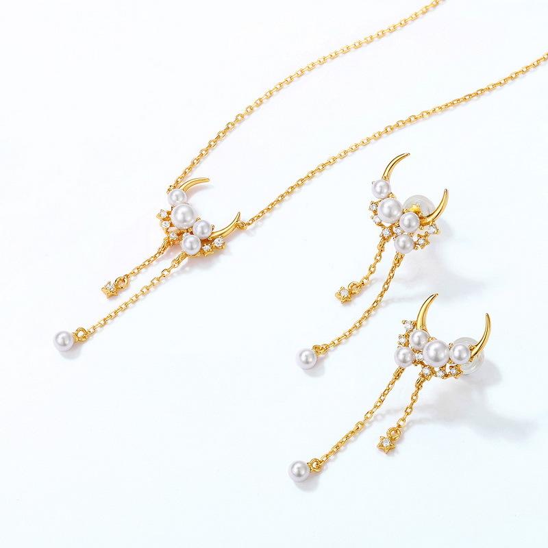 Cynthia silver white pearl jewelry set