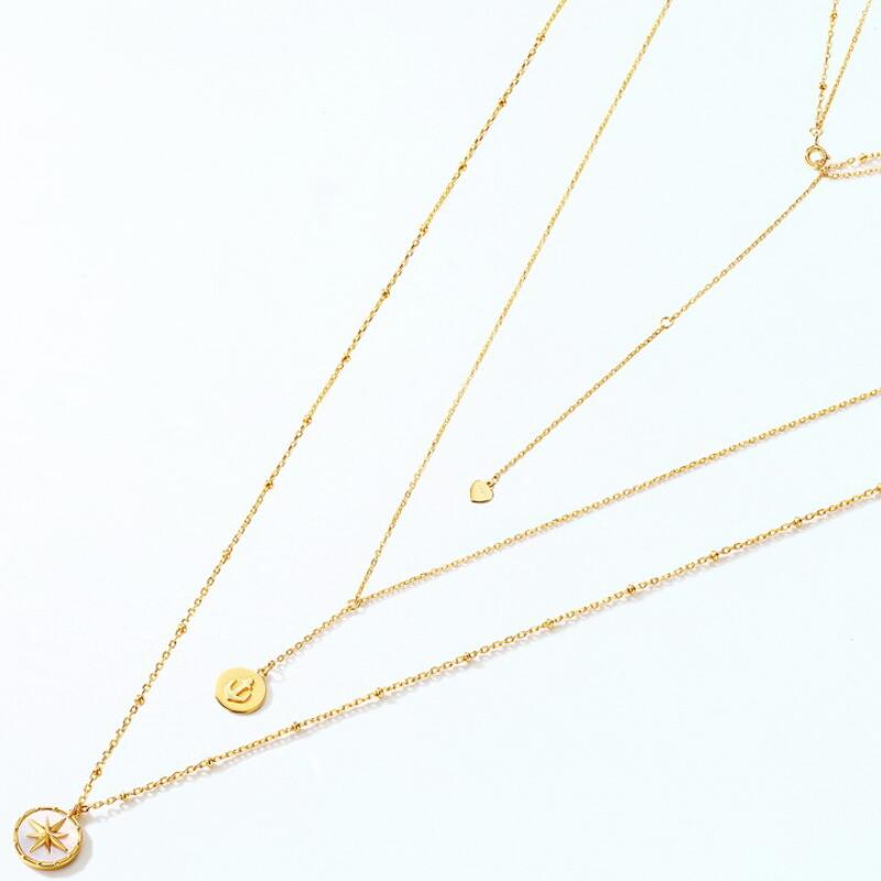Voyager style sterling silver double necklace in 9K gold vermeil