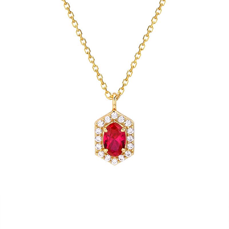 Geometric red corundum pendant necklace