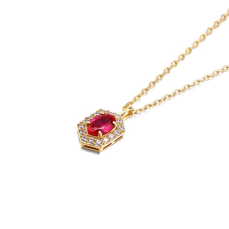 Retro geometric red corundum silver necklace in 14K gold vermeil