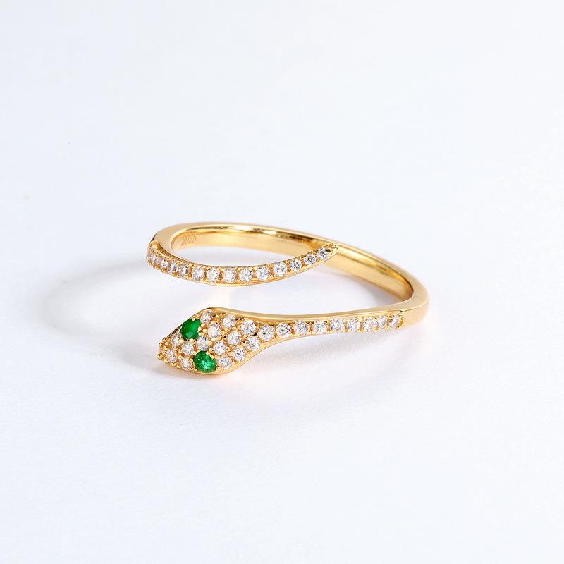 Sterling silver shiny zircons snake ring