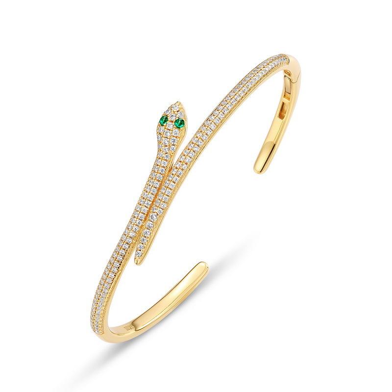 Glamor snake sterling silver cuff bracelet in 9K gold vermeil