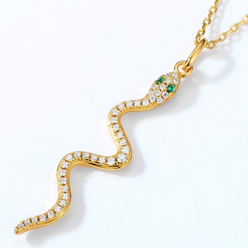 Glamor snake sterling silver pendant in 9K gold vermeil
