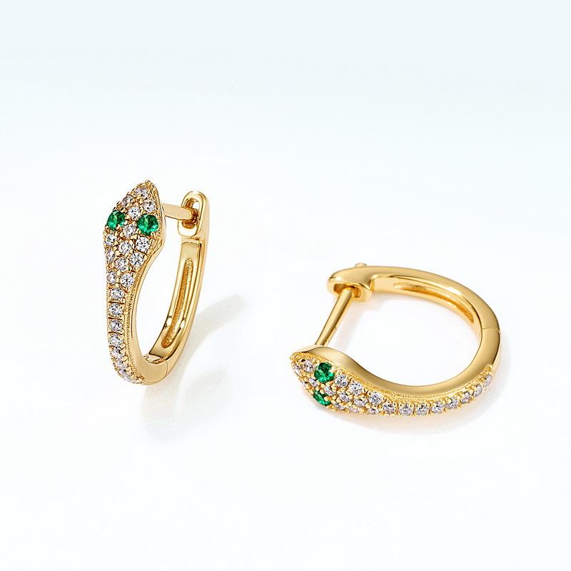 Glamor snake sterling silver huggie earrings in 9K gold vermeil