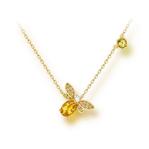 Citrine necklace with citrine crystal bee