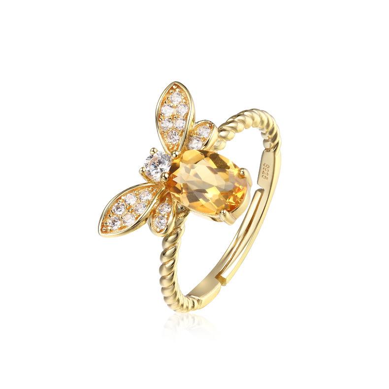 Citrine ring with honey bee design