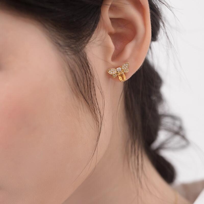 Natural citrine little bee sterling silver stud earrings in 9K gold vermeil