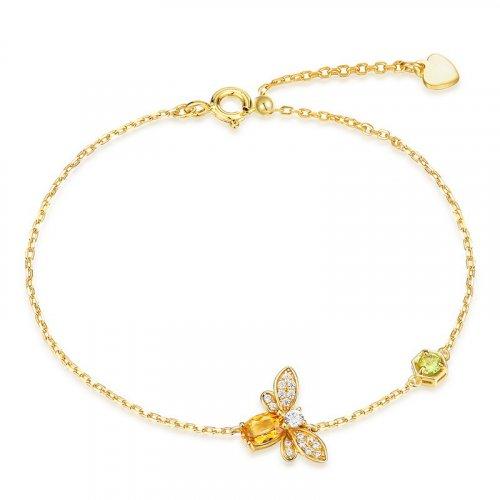 Natural citrine little bee silver bracelet
