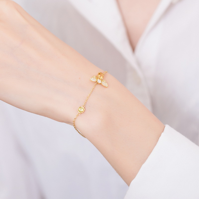 Natural citrine little bee sterling silver chain bracelet in 9K gold vermeil