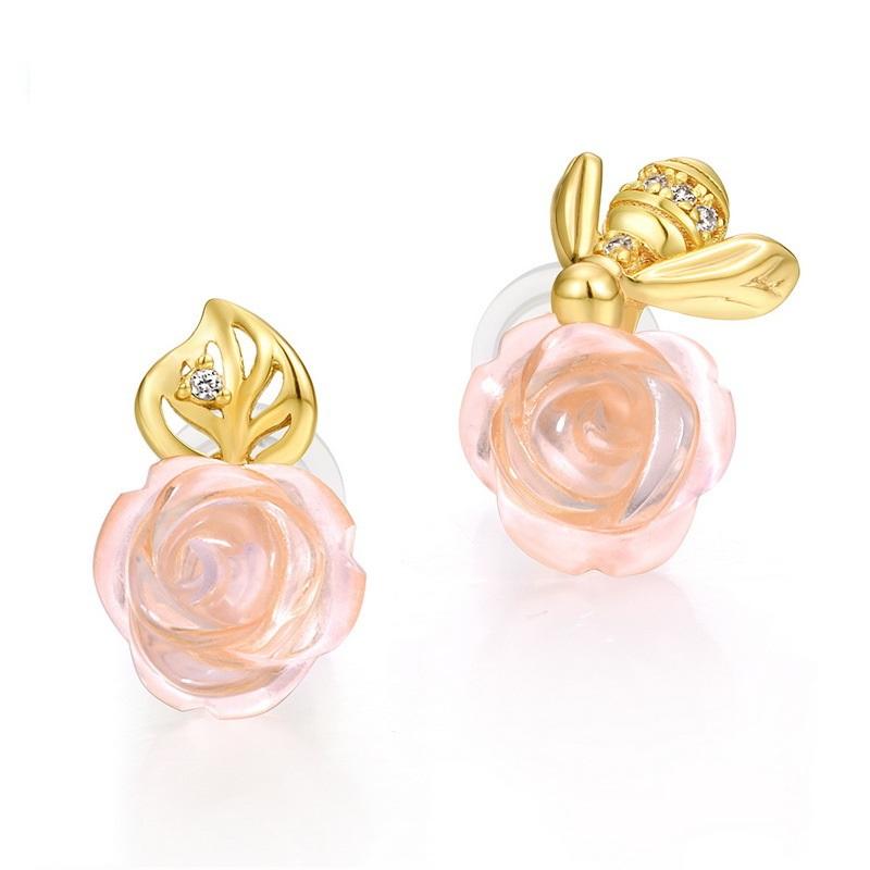 Bee & rose sterling silver stud earrings in 9K gold vermeil