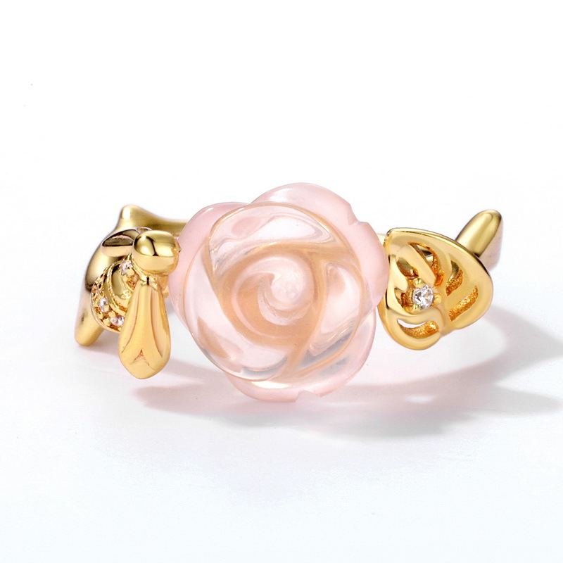 Bee & rose sterling silver ring in 9K gold vermeil