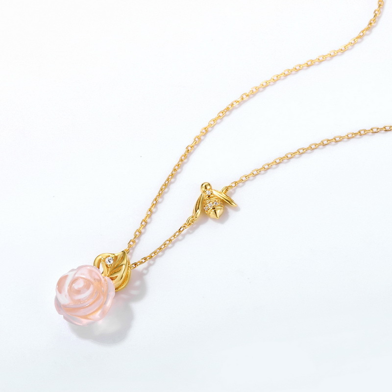 Bee & rose sterling silver necklace in 9K gold vermeil