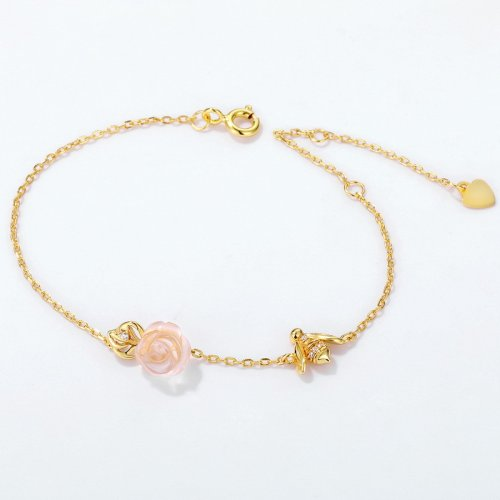 Bee & rose sterling silver chain bracelet in 9K gold vermeil