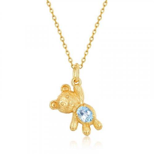 Balloon bear sterling silver pendant in 9K gold vermeil