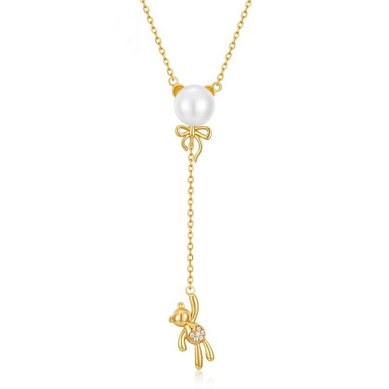 Balloon bear sterling silver necklace in 10K gold vermeil