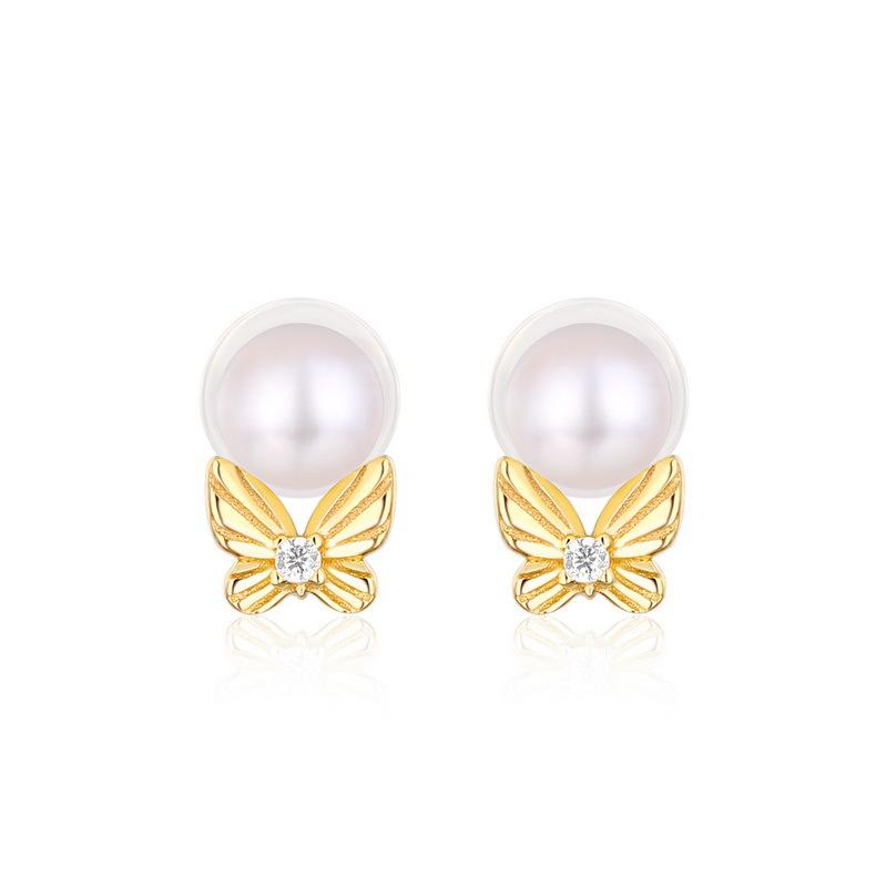 Pearl & butterfly stering silver stud earrings in 9K gold vermeil