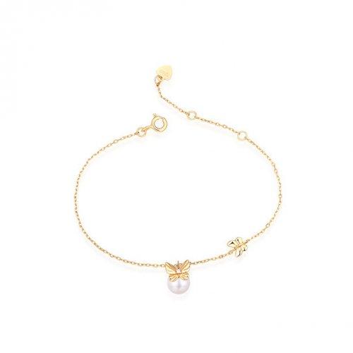Pearl & butterfly stering silver bracelet in 9K gold vermeil